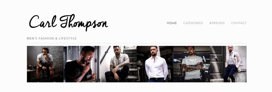 Carl Thompson blog featuring super fashionable guys in the home page.