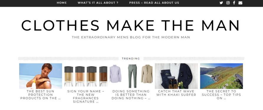 Clothes Make The Man trending section in the home page.