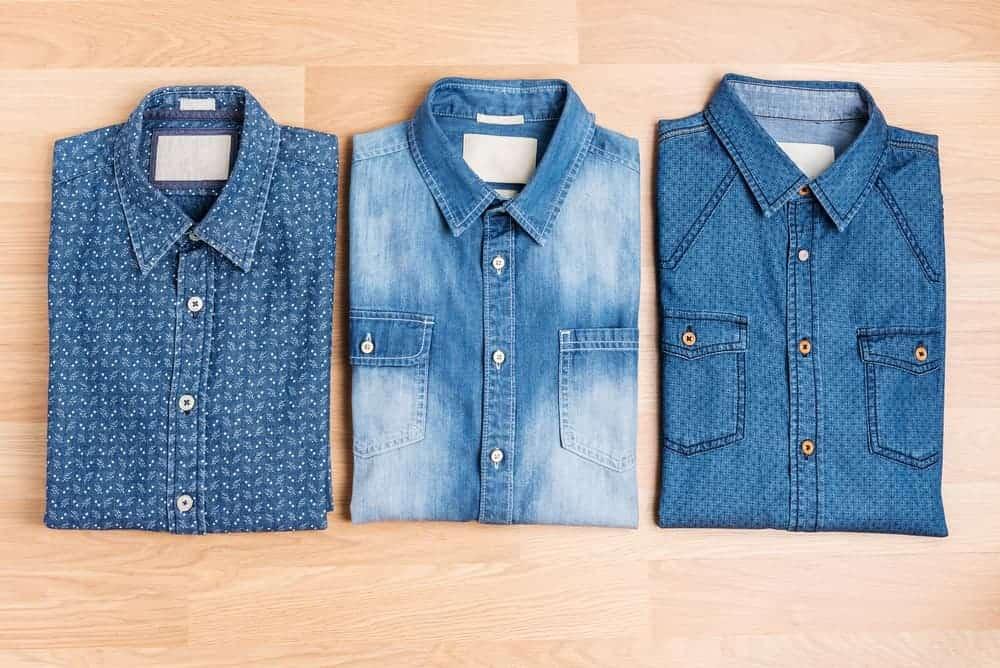 Three pieces of different styles denim shirt.
