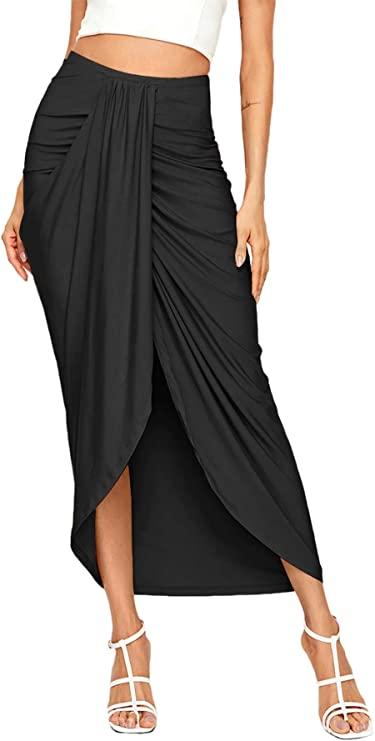 Woman wearing a black draped skirt.