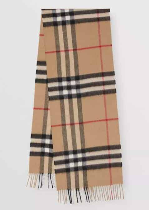 The Classic Check Cashmere Scarf from Burberry.