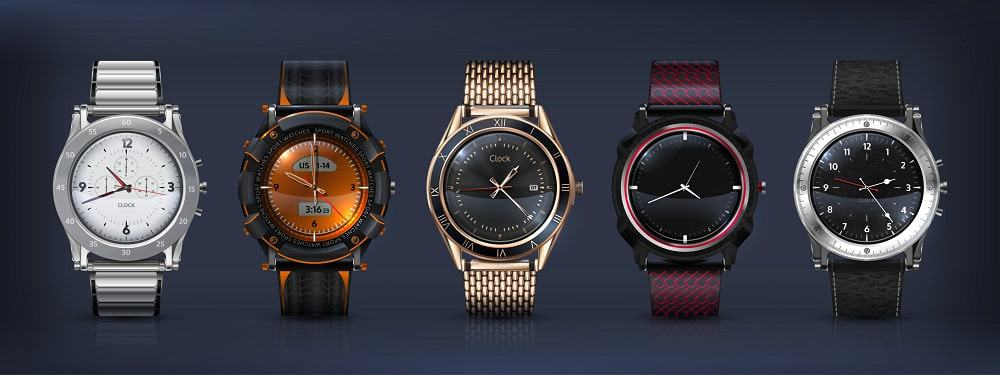 A row of various types of watches.