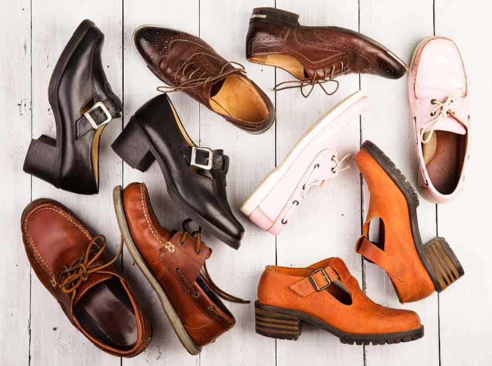 Pairs of unisex footwear.