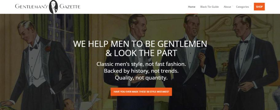 Gentleman's Gazette website home page featuring four gentlemen on the home cover.