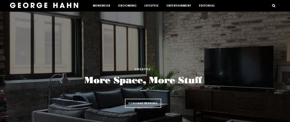 George Hahn blog home page has a very stylish and modish home page cover.