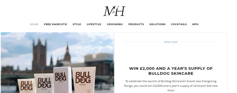 A look at the website's home page with a bulldog skincare promotion.