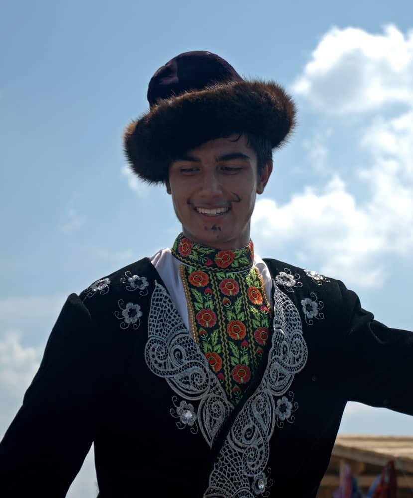Uyghur man wearing Hungarian atilla.