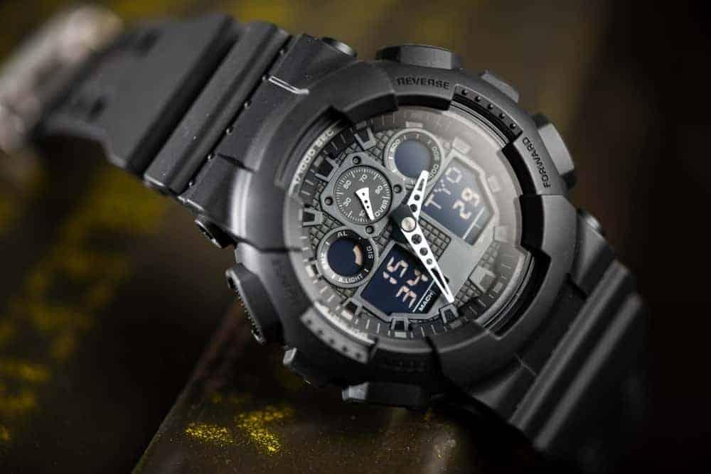 Black analog-digital hybrid wristwatch