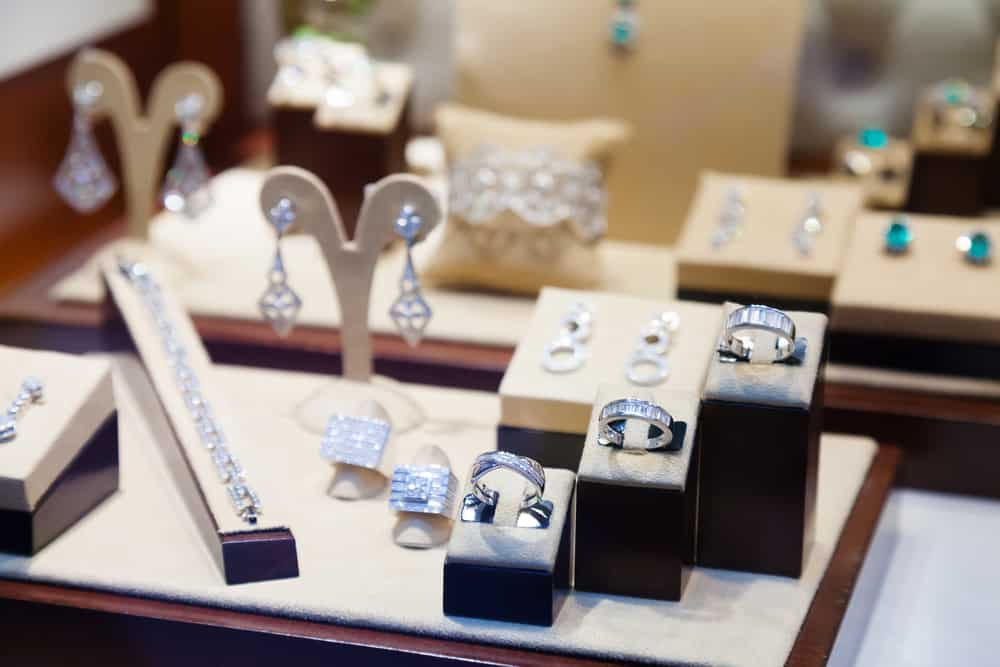 A display of jewelries inside a store.