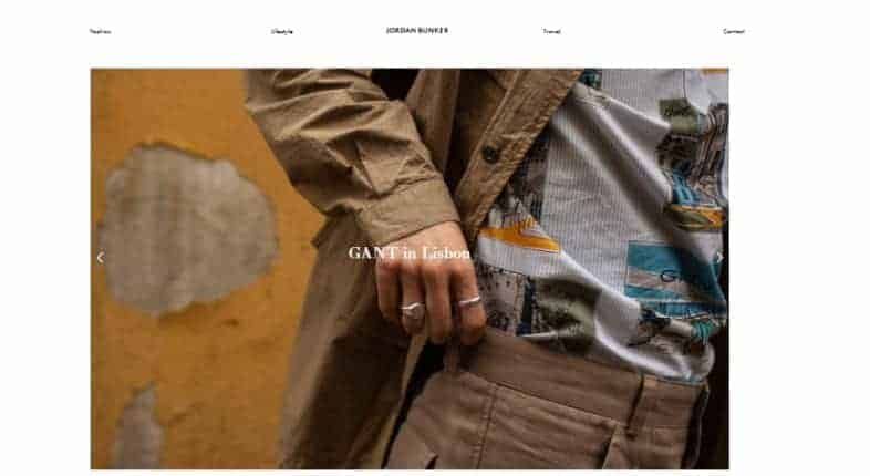Jordan Bunker's website home page with a man wearing a brown jacket.