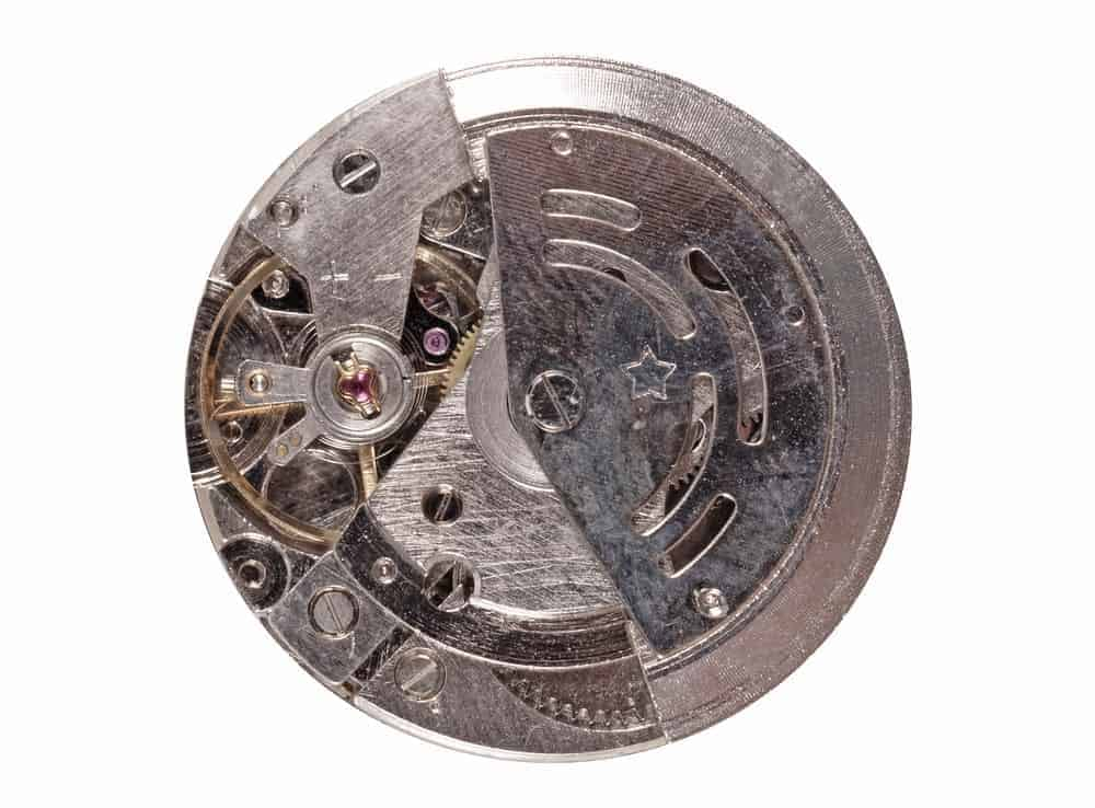 The inside of a kinetic watch.