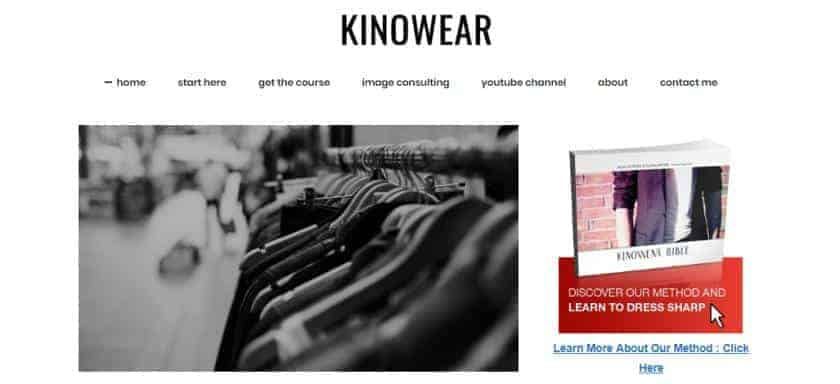 Kinowear's website features a line of suits on its home page.