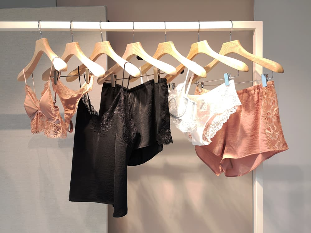 A display of lingerie on rack in retail store.