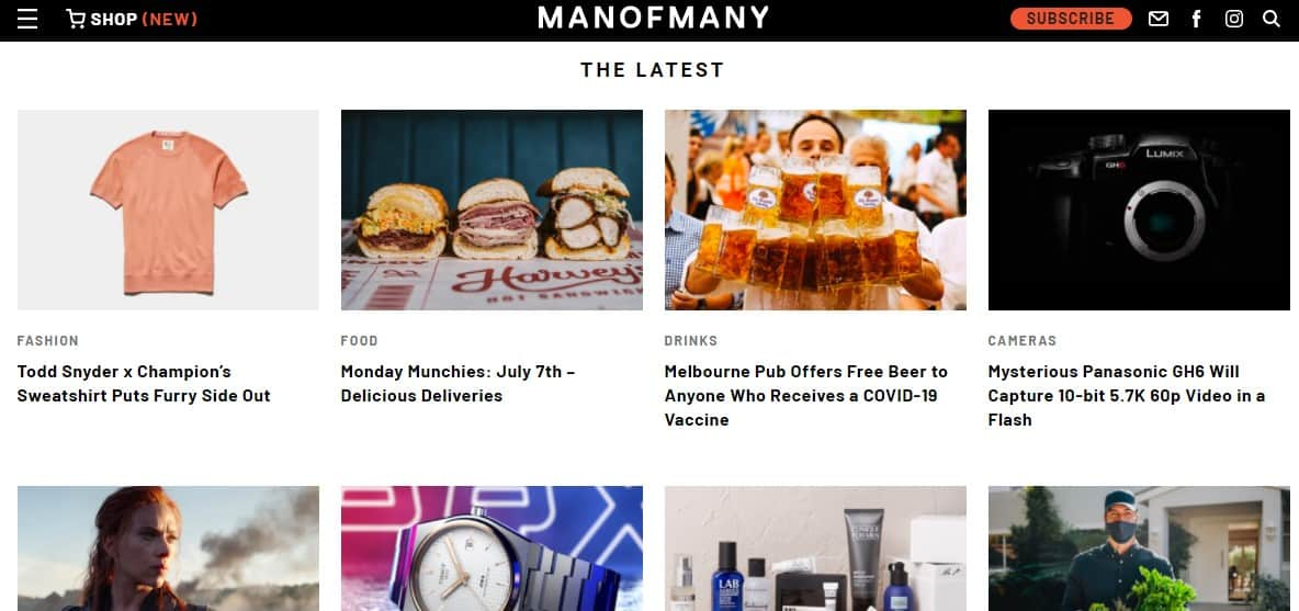 Man of Many site homepage.