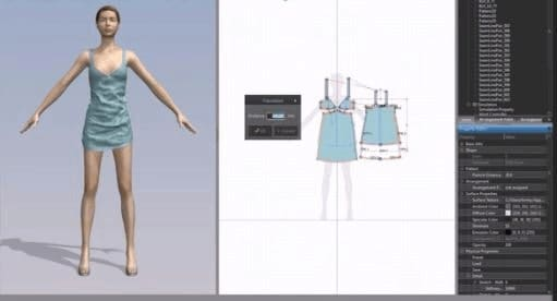 Marvelous designer tool with a female model working on a fashion dress.
