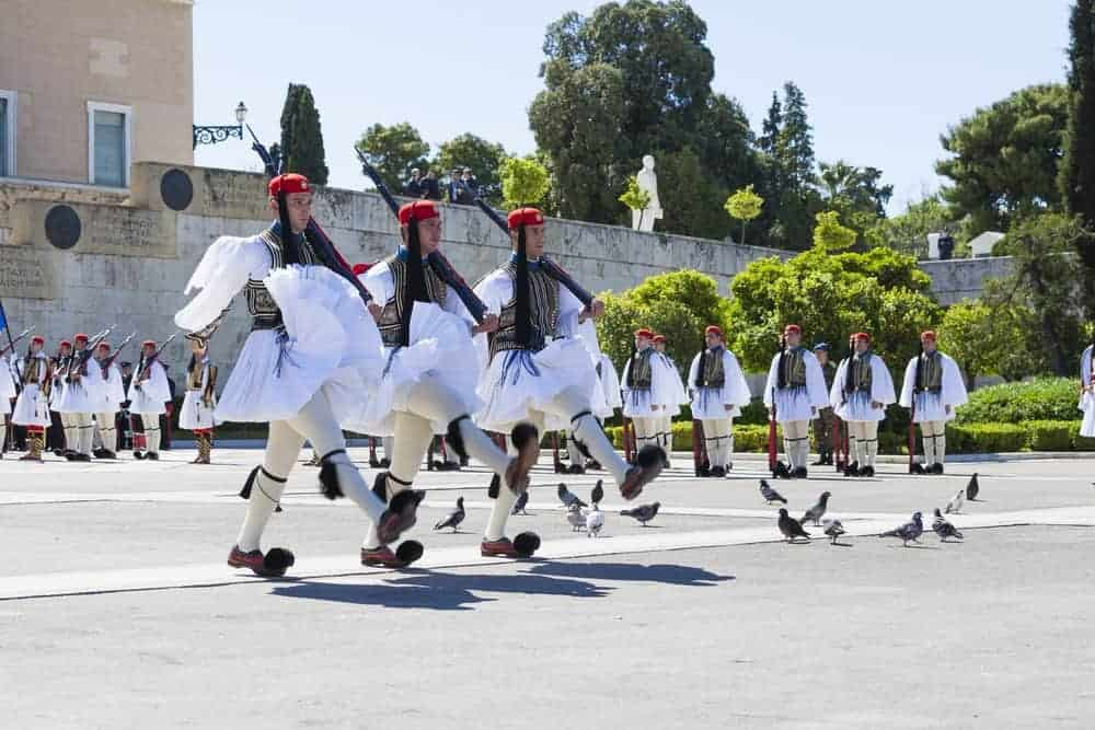 Greek army marching with their fustanella.