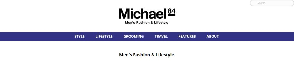 Michael 84 fashion and lifestyle blog's simple home page.