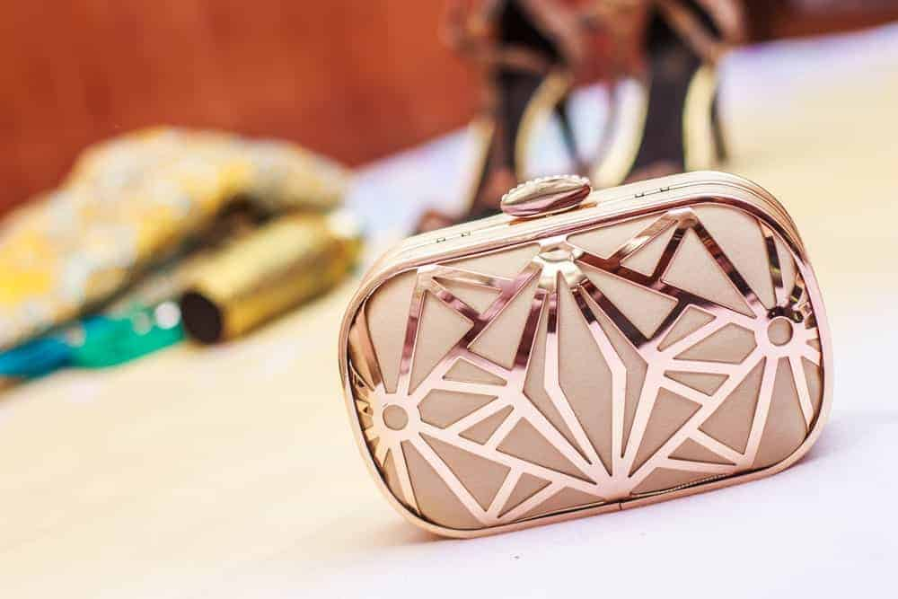 Minaudiere clutch with metallic details.