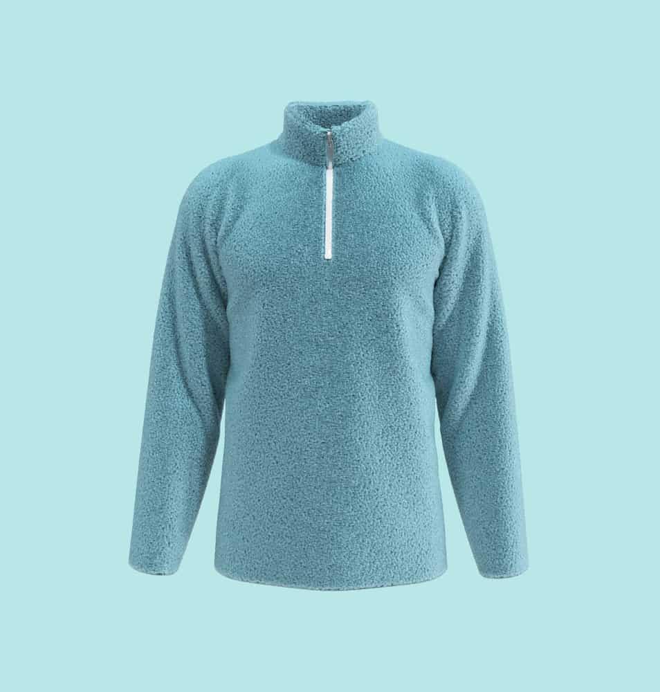 Blue fleece mock turtleneck sweater