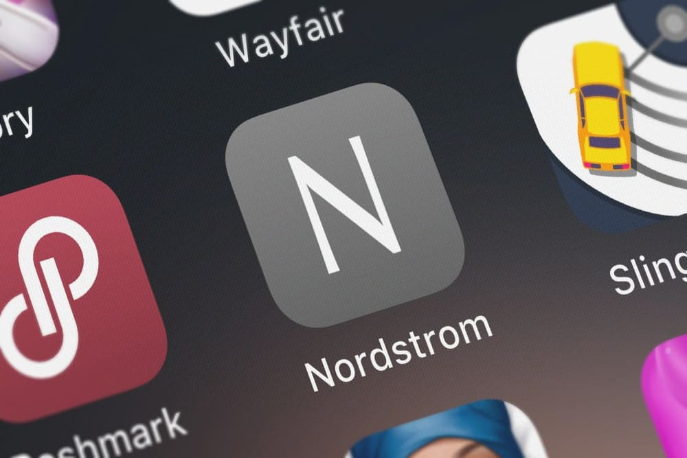 Mobile phone with a Nordstrom app in it.