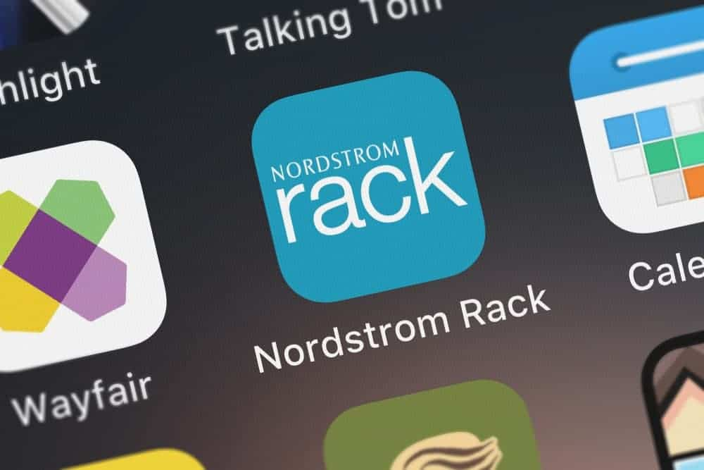Here's the icon of the Nordstrom Rack store on the screen of a mobile phone.