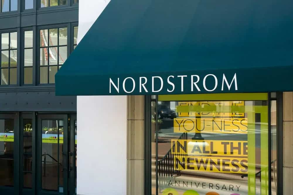Nordstrome store with the name printed on the front door roof.
