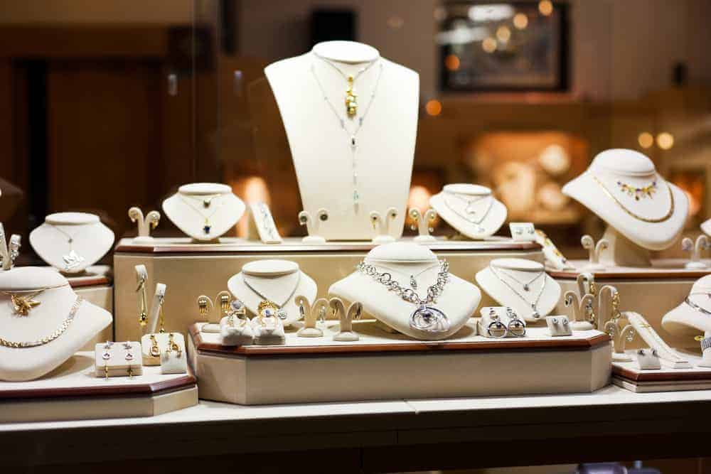 A variety of jewelry on display in a store.