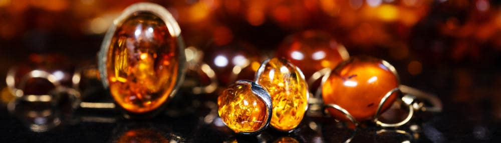 Various pieces of amber jewelry.