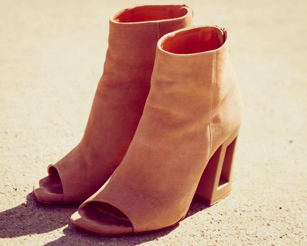 Brown suede open toe boots
