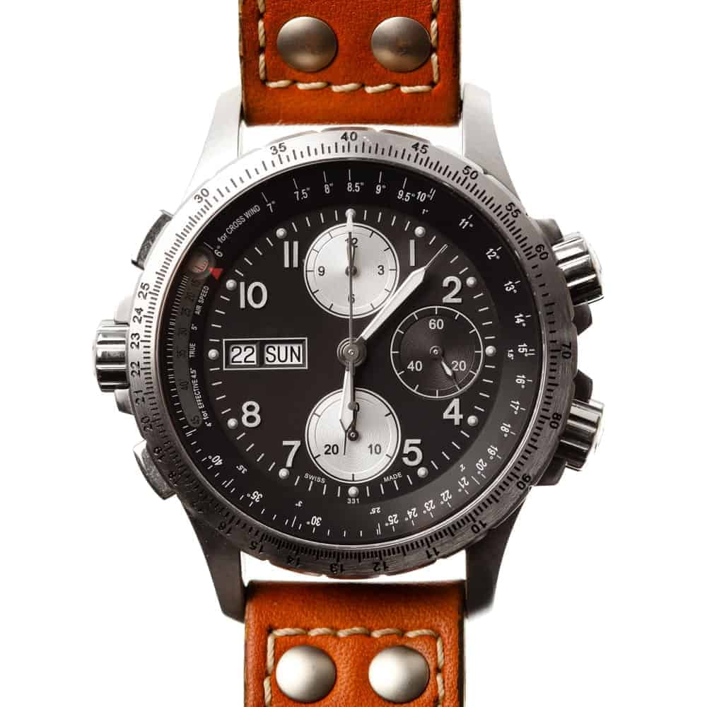 Pilot watch with brown leather strap.
