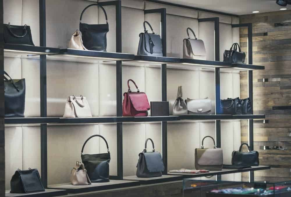 A display of woman purses in a store.