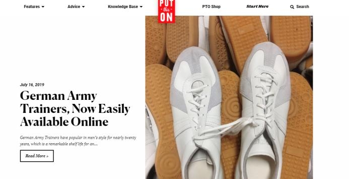 The Put This On website home page has shoes on its cover.