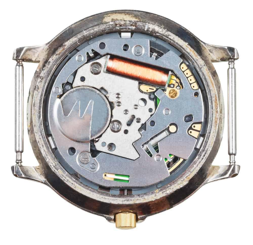 Quartz wristwatch movement in an old watch.