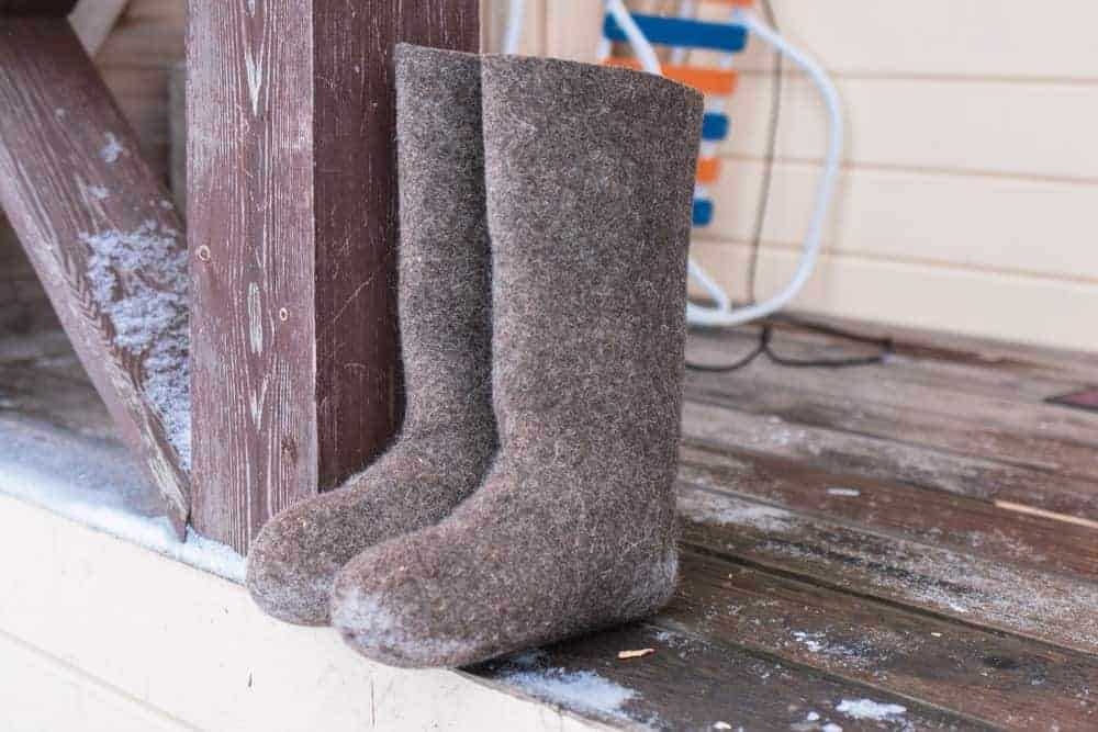Russian winter boots on the porch.