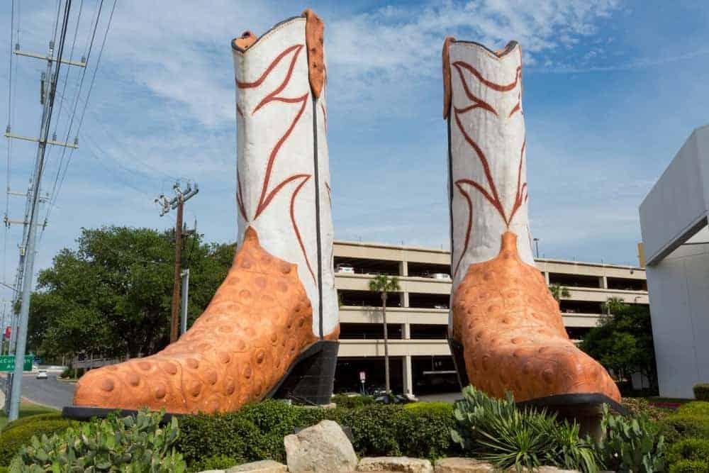 The iconic San Antonio cowboy boots landmark outside the North Star Mall.