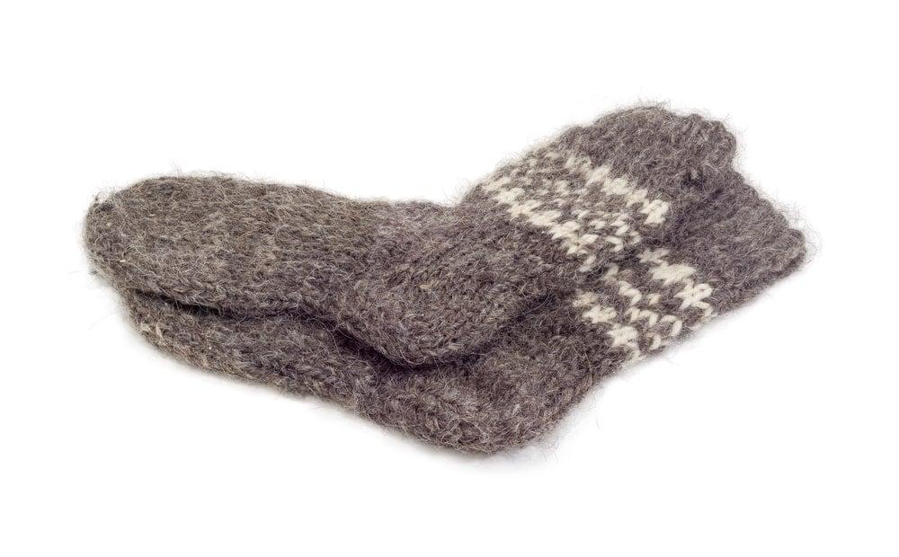 Woolen socks on a white background