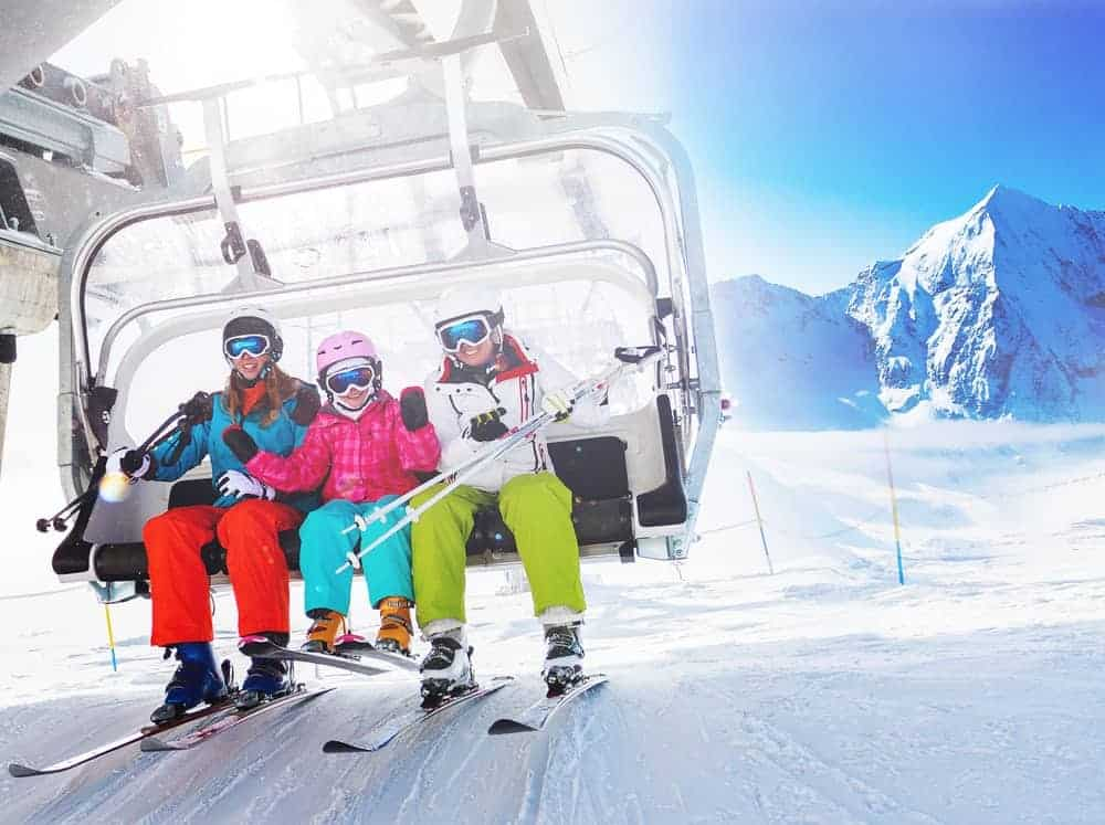 Family skiing in winter.