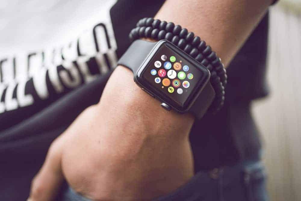 Man wearing an Apple smartwatch.