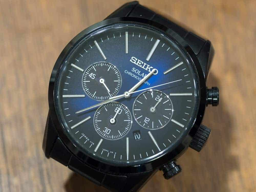 Seiko solar movement with blue and black dial along with chronograph function.