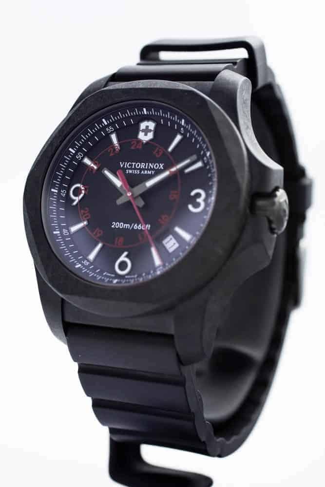 Closeup of Victorinox tactile watch.