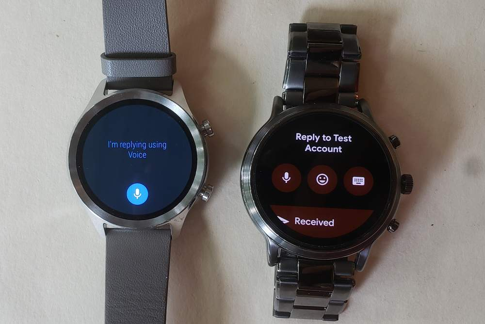 ticwatch c2 vs fossil gen 5 carlyle reply to messages