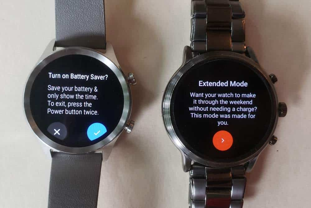 ticwatch c2 vs fossil gen 5 carlyle battery life power saver