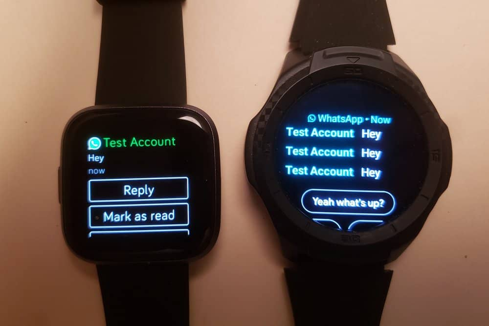 Ticwatch S2 vs Fitbit Versa 2 text