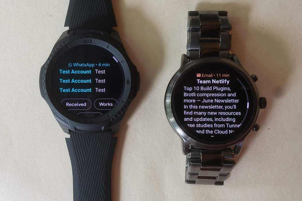 ticwatch s2 vs fossil gen 5 carlyle email and texts