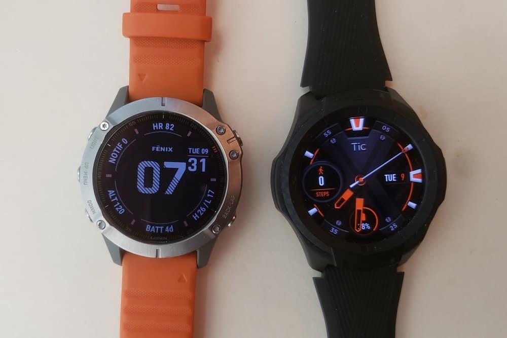 ticwatch s2 vs garmin fenix 6 main screen