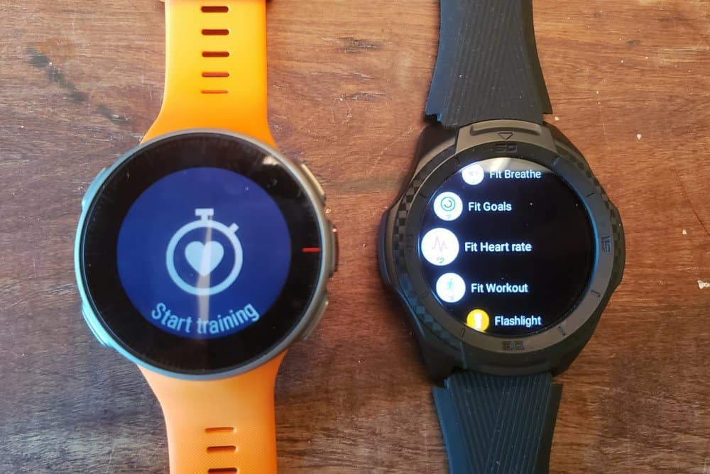 ticwatch s2 vs polar vantage v apps menu