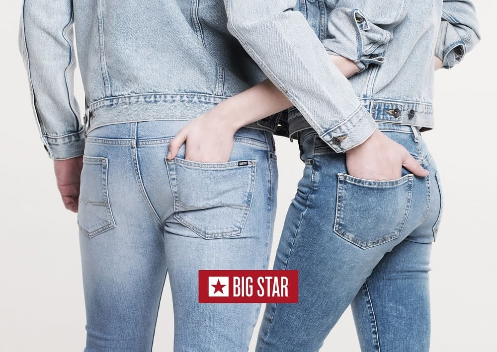 A man and a woman wearing Big Star Jeans.