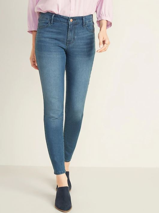A pair of Old Navy mid-rise super skinny jeans for women.