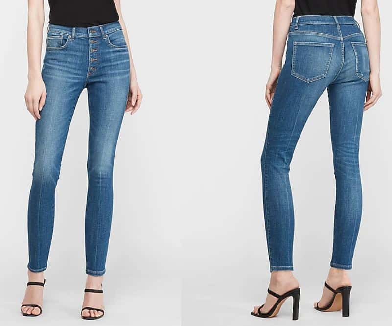 A pair of Express Skinny Jeans seen from front and back.