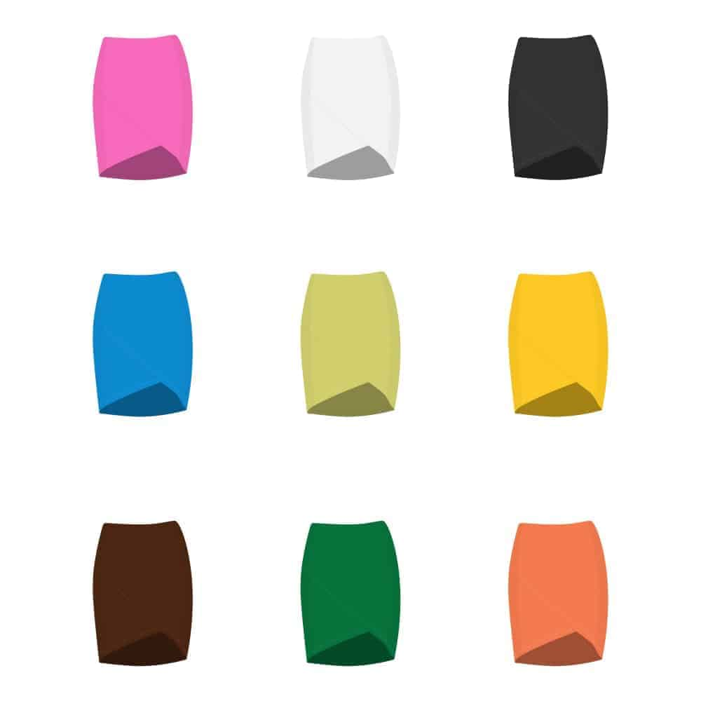 A collection of multicolored tulip skirts.